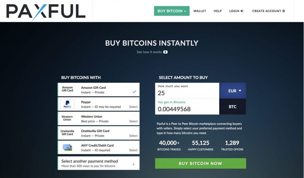 Exchange PayPal against Bitcoin at Paxful